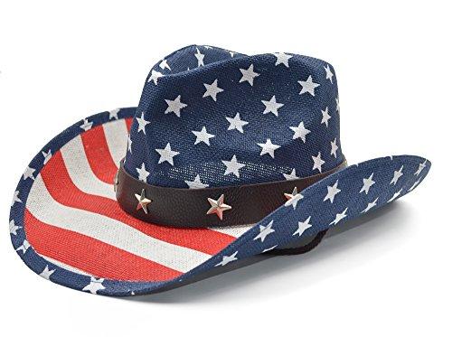 Melesh American Flag USA Western Cowboy Hat ()
