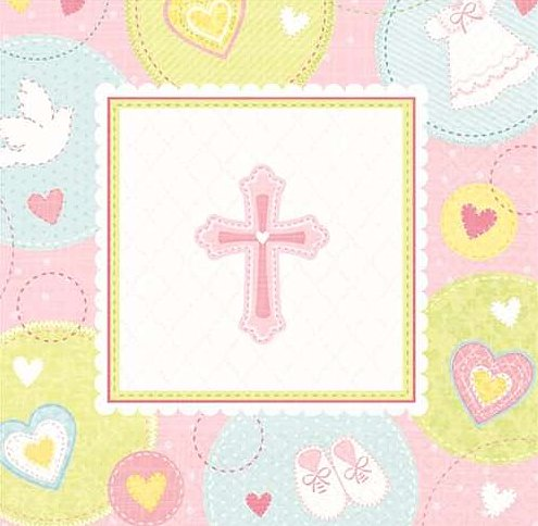 (Sweet Christening Pink Cross Beverage Napkins - 2 Ply - 16/Pack)