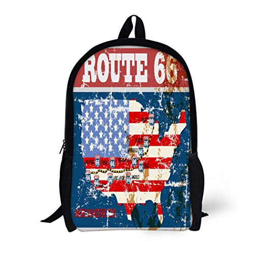 Pinbeam Backpack Travel Daypack Red Grungy Route Sixty Six Road Map Retro Waterproof School Bag