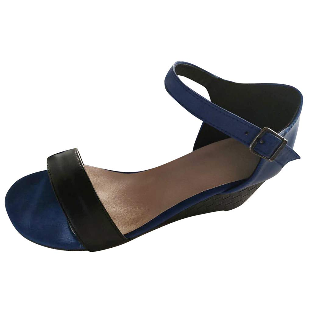Fastbot Women's Summer Sandals Open Toe Casual Comfort Wedges Shoes Ankle Strap Belt Buckle Blue