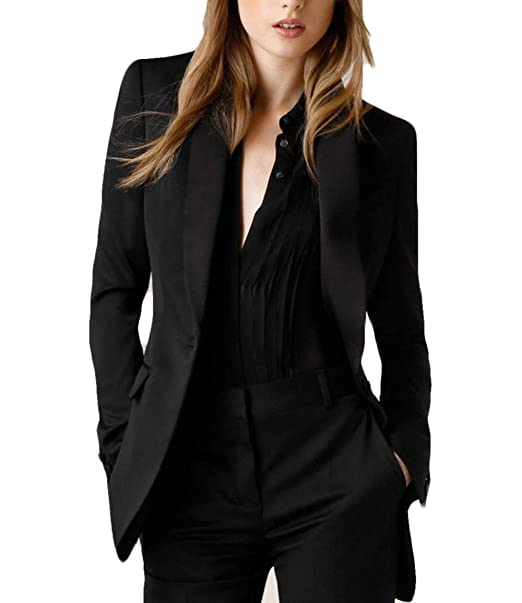 Amazon.com: WZW Womens Black Business Suits Formal Office ...