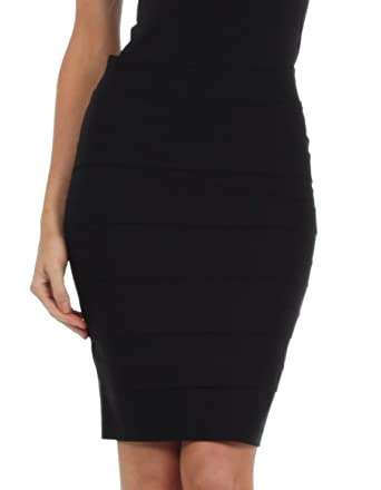 Knee Length Tiered Sleek Stretch Skirt at Amazon Women's Clothing ...