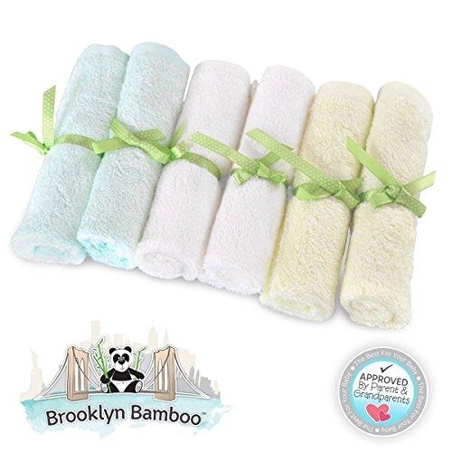 """Brooklyn Bamboo gant de toilette bébé / Lingettes six pack organique, SOFT, Agrandir 10 """"x10"""" Taille utiliser avec votre peau Favorite Baby Bathing produits de soins et les serviettes de bain pour les enfants. Doux, plus absorbant, débarbouillettes durabl"""