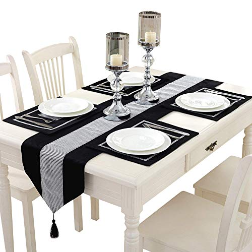 Hangnuo Set of 4 Wedding Elegant Sequined Rhinestone Contrated Classic Placemat Table Mats and 1PC Runner, Black