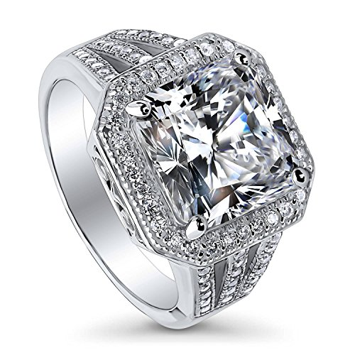 (BERRICLE Rhodium Plated Sterling Silver Princess Cut Cubic Zirconia CZ Statement Halo Cocktail Fashion Right Hand Split Shank Ring Size 10)