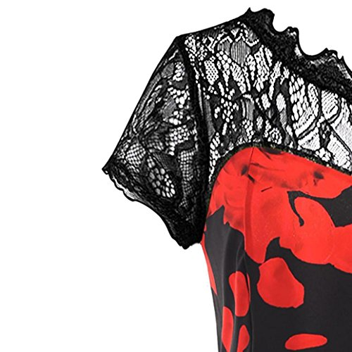 Vintage Robe Impression À Dentelle Femmes Fleurs Courtes Manches Aimee7 wqfSP8n1