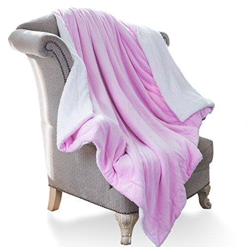 HoroM Sherpa Blanket Pink Throw Blanket Microfiber Reversible All Seasons 60