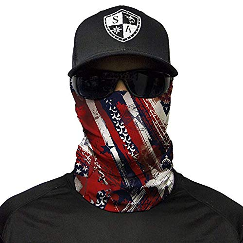 Sa Company Face Shield Micro Fiber Protect from Wind, Dirt and Bugs. Worn as a Balaclava, Neck Gaiter & Head Band for Hunting, Fishing, Boating, Cycling, Paintball and Salt Lovers. - USA New Style ()