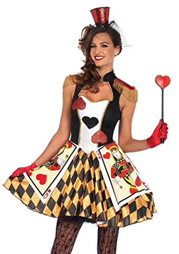 Queen's Card Guard Heart Costume Bundle with Rave Shorts (Queen Of Hearts Card Adult Costume)