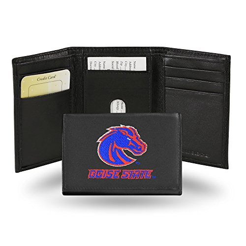 Rico Industries NCAA Boise State Broncos Embroidered Leather Trifold Wallet Boise State Broncos Leather