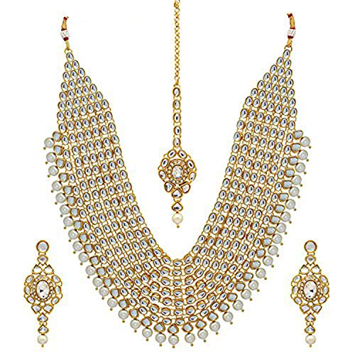 Aheli Wedding Collection Indian Traditional Kundan Layered Ethnic Designer Bridal Necklace with Maang Tika and Earrings Festive Jewelry Set for Women from aheli