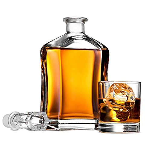 Paksh Capitol Glass Decanter with Airtight Geometric Stopper – Whiskey Decanter for Wine, Bourbon, Brandy, Liquor, Juice…