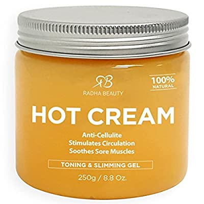 Cellulite remover cream and Deep Muscle Relaxation 8.8 oz - 100% natural Anti-Cellulite treatment gel, slimming and body firming with Thermogenic Action - also great as Muscle rub and Massage cream