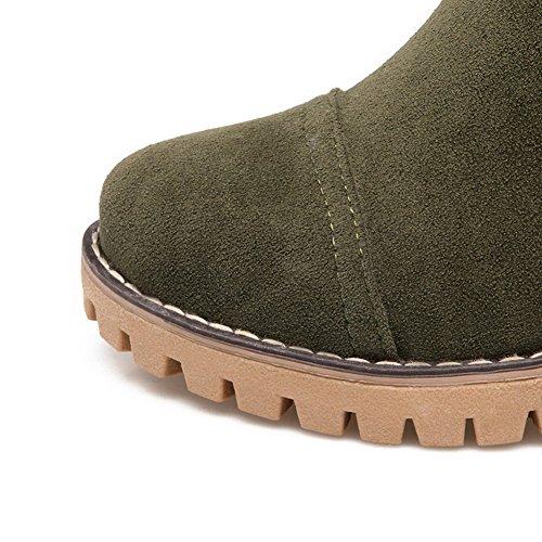 Bottes pour femmes AgooLar en coton avec fermeture à glissière en coton à bout rond et bout rond - Vert armée