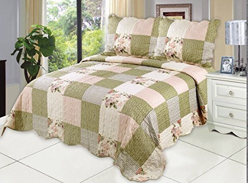 (English Roses Quilt Microfiber Quilt set,prewashed, preshrunk. Hypoallerginic, Pattern Stitched with Real Threads, machine quilting, Ultra soft King bed-cover 90