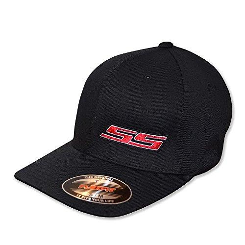 Hotrodsandmusclecars GM Lisenced SS Embroidered Hat (L/XL (7 1/8-7 5/8), Black Hat (Black Red White))