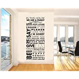 Amaonm Quote Words in This House We Are a Family Wall Decals Removable Vinyl Art Decor, Wall Stickers & Murals, Home Décor Accents Wall Decor for Bedroom Living Room Decoration (Design 2)