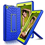 Kindle Fire 8 2018 Case, Elegant Choise Hybrid Heavy Duty Shockproof Full Body Protection Armor Rugged Defender Protective Cover Case with Kickstand for Amazon Fire 8 2018 / Fire 8 2017 (Yellow/Blue)