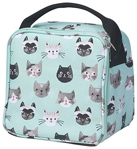 Now Designs Let's Do Lunch Aqua Cats Meow 8.5 x 6 Inch Insulated Zippered Lunch Bag with Handle (Cat Lunch Bag)