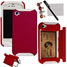 xhorizon® Hard/Soft Heavy Duty Hybrid Credit Card Wallet Case Cover For iPhone 4 4s Red