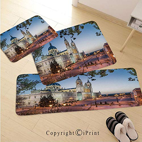 Cityscape 3D Non-Slip Kitchen Mat Runner Rug Set,3pc Kitchen Rug Set,Old Cathedral and Royal Palace in Madrid Mediterrenean Mod City Europe Urban Print,for Entryway Kitchen and Bedroom,Multi ()