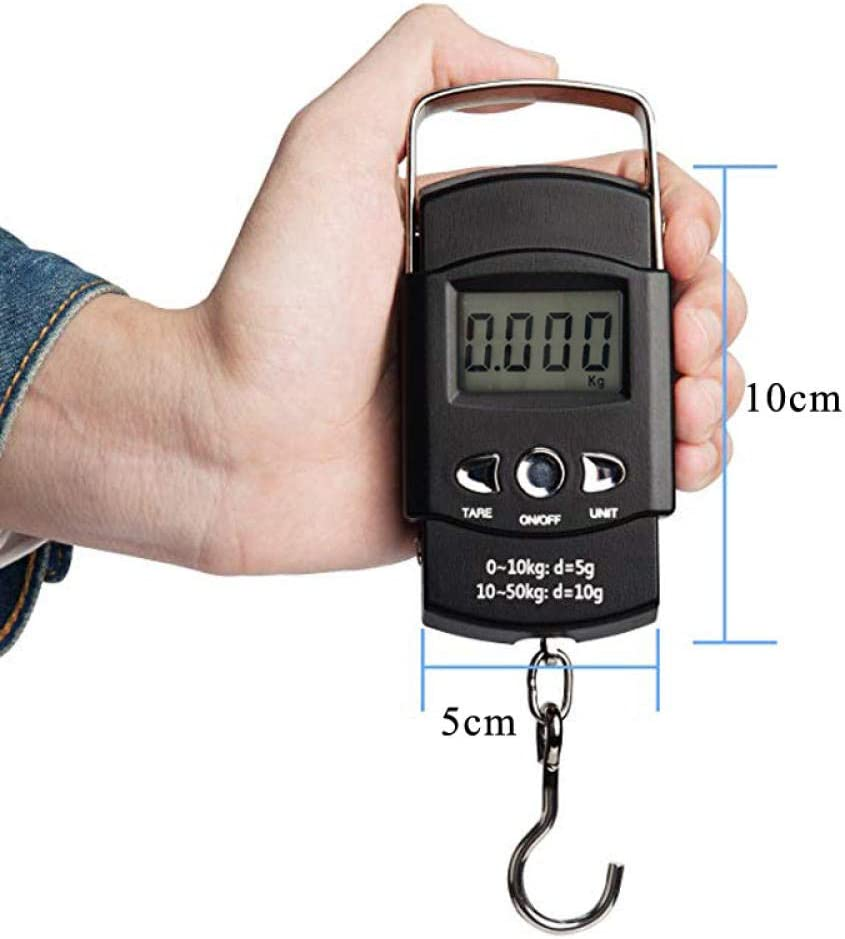110lb/50kg Electronic Weighing Scale Digital Fishing Postal Hanging Hook Scale with Measuring Tape LCD Scale-Black Black