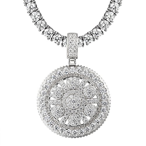 Solitaire Medallion Pendant 925 Silver Simulated Diamonds Cluster Set Tennis Chain (Medallion Tennis)