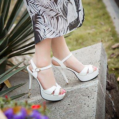 LFNLYX Sandalias mujer Primavera Verano Otoño otros PU Parte & vestido de noche casual Stiletto talón Otros Otros en blanco y negro White