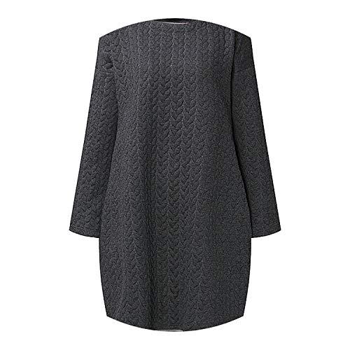 S-5XL Winter Warm Vestidos Long Sleeve Fashion Dress Leisure Solid O Neck Loose Shirts,Dark Grey,5XL - Caress Satin Neck