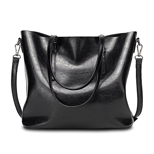 (Abshoo Womens Soft Leather Purses Handbags Tote Shoulder Bags (Black))