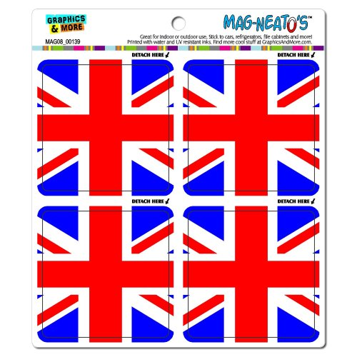 Graphics and More Great Britain Flag United Kingdom Union Jack Mag-Neato's Automotive Car Refrigerator Locker Vinyl Magnet Set (United Kingdom Magnet compare prices)