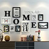 Home@Wall photo frame Photo Frame Sets,Living Room Photo Frame Wall Creative Combination Sofa Background Frames Set Of 9 ( Color : C , Size : 9frames/16280CM )