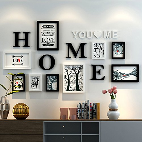 Home@Wall photo frame Photo Frame Sets,Living Room Photo Frame Wall Creative Combination Sofa Background Frames Set Of 9 ( Color : C , Size : 9frames/16280CM ) by ZGP