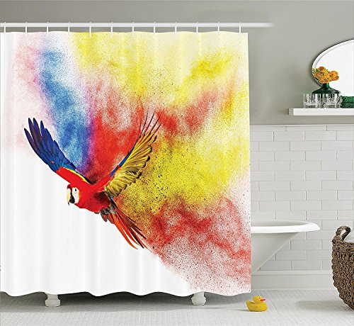 [Parrots Decor Shower Curtain Set Flying Parrot with Colorful Storm Cloud on the Back Feathers Fantasy Illustration Print Bathroom Accessories] (Parrot Costume Ebay)