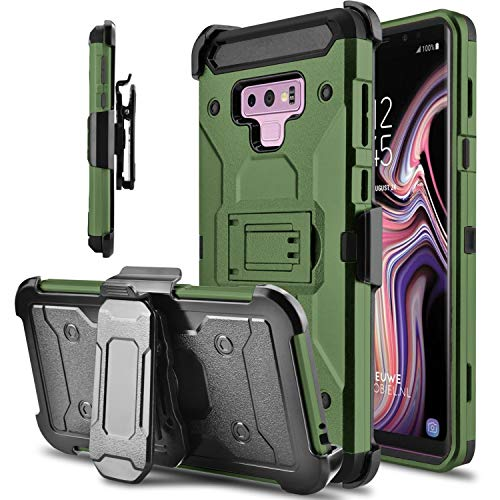 lovpec Hard Galaxy Note 9 Case, Kickstand [Heavy Duty Protection] Swivel Belt Clip Holster Full Body Protective Shockproof Phone Case Cover Compatible with Samsung Galaxy Note 9/SM-N960U (Army Green)