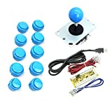 WINIT Zero Delay PC Joystick Cabinet DIY Parts Kit for Mame Jamma & Fighting Games 10PCS Blue buttons+1pcs Zero Delay + 1PCS Blue Ball 8 Way Joystick USB Encoder Support All Windows Systems - Blue Kit