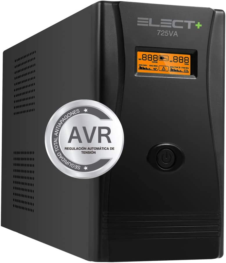 E-NUC Elect + UPS 725VA/400W VA Sistema SAI Alimentación Ininterrumpida EL0001 (725VA, 400W, 12V/7Ah, 2 Bases Salida, Protección Cortocircuito, Renovación Automática, Pantalla LCD) – Negro