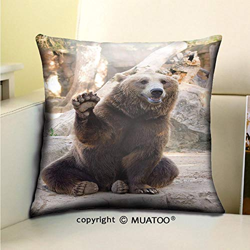 Sitting Bear Case - PleayeL Soft Canvas Throw Pillow Covers Cases for Couch Sofa -Friendly Brown Bear Sitting and Waving a paw in The Zoo Print 20x 20(50 x 50 cm)