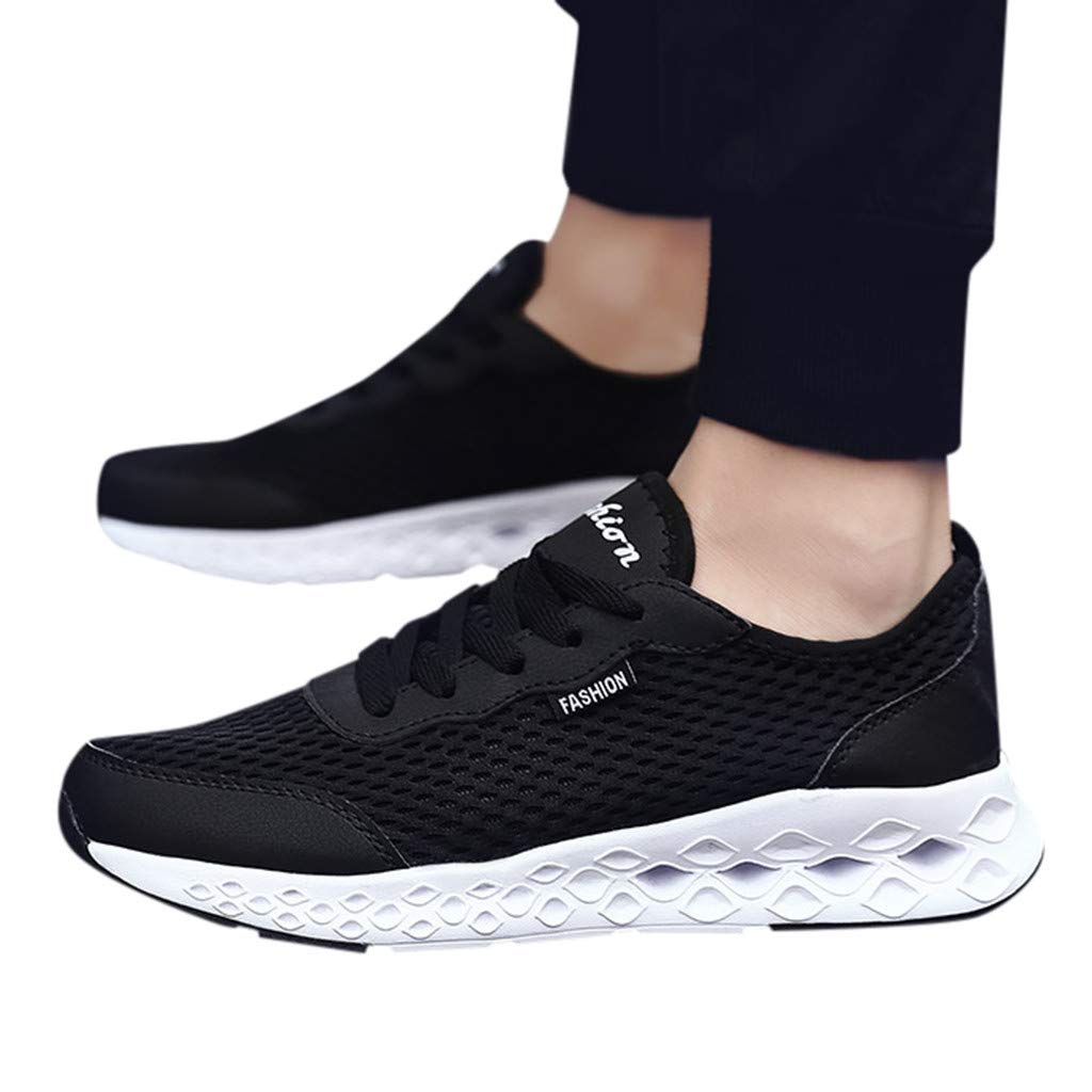 2019 Men Mesh Running Shoes Lace Up Breathable Running Sneakers Sports Shoes for Training Walking Tennis (Black, US:7.5=Foot Length:25cm/9.8'')
