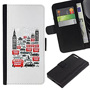 All Phone Most Case / Leather Wallet Case Protective Cover for Apple Iphone 6 PLUS 5.5 Symbols Double Decker Big Ben