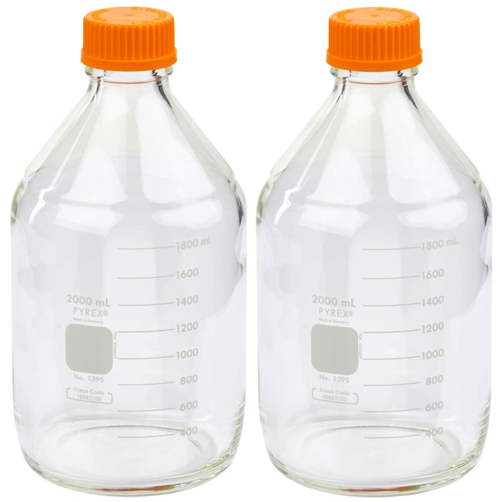 Corning PYREX #1395-2L, 2000ml Round Media Storage Bottle, with GL45 Screw Cap (Pack of 2) by Pyrex