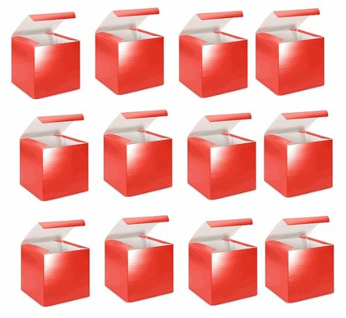 Bundleofbeauty 67yu -Set of 10 Hot Red Glossy Party Favor Candy Treat Gift Packaging Boxes 3x3x3 (Iii Treat Box)