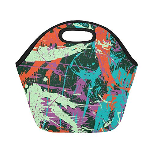 Insulated Neoprene Lunch Bag Abstract Grunge Style Art Hand Drawn Design Vintage Watercolor Color Large Size Reusable Thermal Thick Lunch Tote Bags For Lunch Boxes For Outdoors,work, Office, School ()