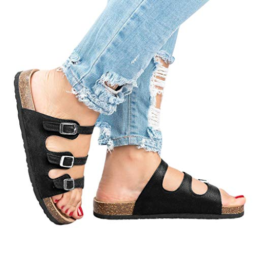 (Womens Flat Sandals Cork Sole Buckle Slip On Slides Flip Flops D - Black)