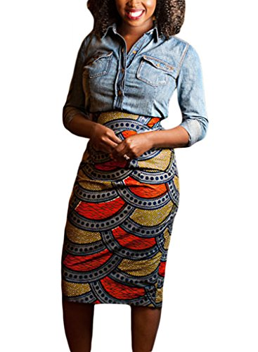 Annflat Women's African Print High Waist Stretch Bodycon Pencil Midi Skirt Small (Check Print Skirt)