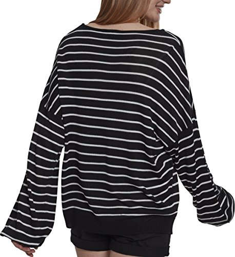 Urban Classics Damen Pullover Ladies Oversize Stripe Sweater Mehrfarbig (Black/White 00826) ttWqOKXoE