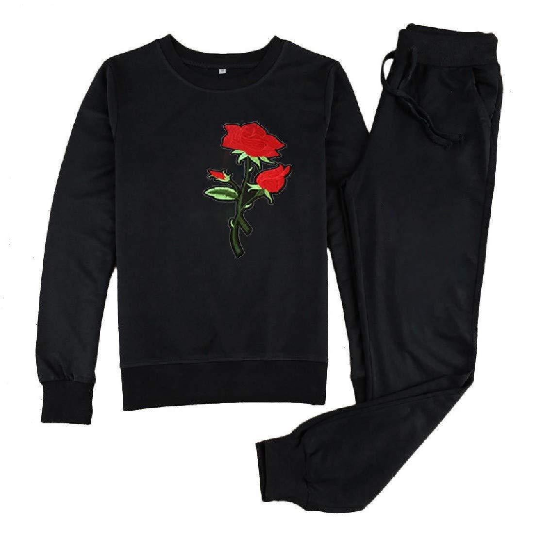 VITryst-Women Fleece Fleece Fall Embroidery 2 Piece Set Hoodie Shirt Top