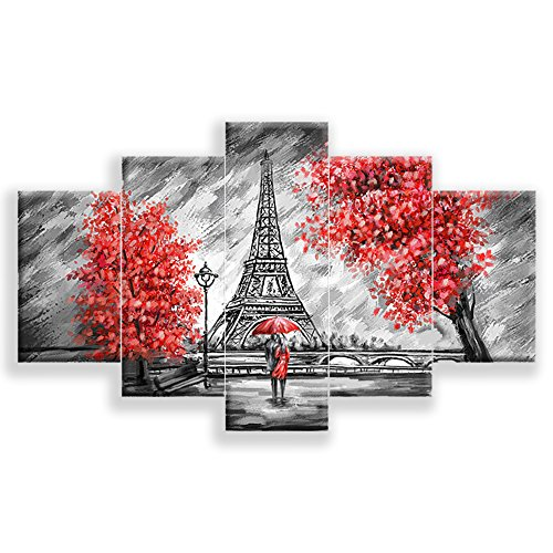 Tower Canvas Art (PEACOCK JEWELS [LARGE] Premium Quality Canvas Printed Wall Art Poster 5 Pieces/5 Pannel Wall Decor Couple At Eiffel Tower Painting, Home Decor Pictures - Stretched)