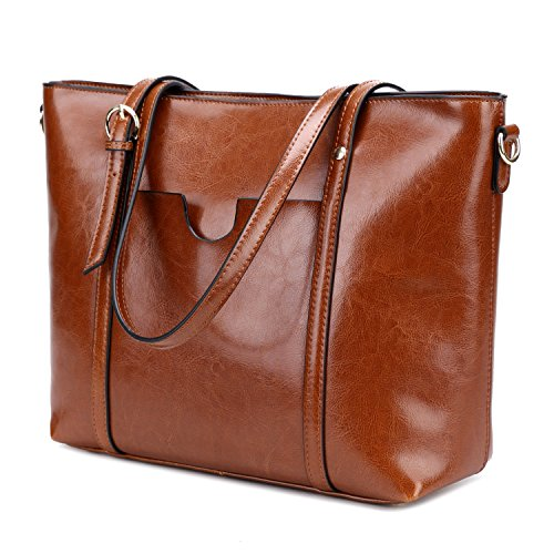 CLELO Women's Tote Bag, Genuine Leather, Brown