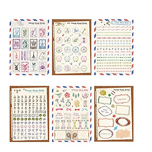 Nice Stationery - NiceWave 6 Sheets Vintage Stamp Theme Stickers DIY Scrapbooking Stickers Creative Postmark Stamp Adhesive Stickers Stationery Nice and Useful